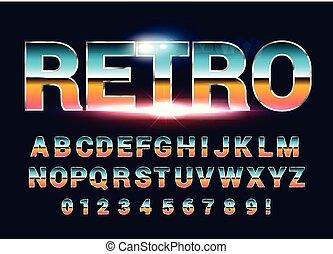 サイエンスフィクション, アルファベット, 未来, レトロ, font., 80 年代, style.