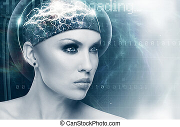 サイエンスフィクション, 抽象的, 未来, デザイン, 女性の女性, 肖像画, あなたの