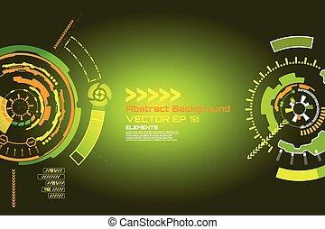 サイエンスフィクション, 抽象的, -, 高く, ベクトル, 技術, 背景, デザイン, 技術, 未来派