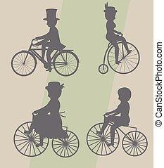 サイクリスト, シルエット, マレ, 女性