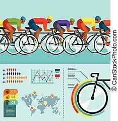 サイクリスト, セット, ポスター, 自転車, infographics, ベクトル, 乗馬, アイコン