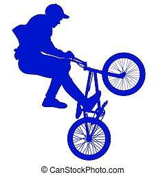 サイクリスト, トリック, 自転車, 実行, シルエット