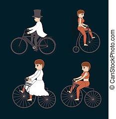 サイクリスト, マレ, サーカス, 女性