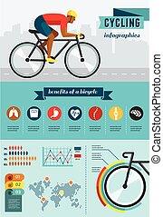 サイクリスト, 乗馬, 上に, 自転車, ベクトル, infographics, ポスター, アイコン, セット