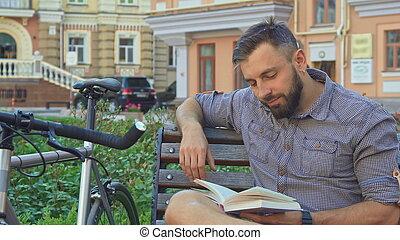サイクリスト, 回転, 本, ページ, ベンチ