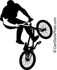 サイクリスト, 自転車, 跳躍, シルエット