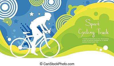 サイクリング, カラフルである, トラック, 運動選手, 競争, スポーツ, 旗