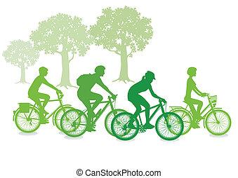 サイクリング, 中に, ∥, 緑
