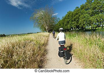 サイクリング, 中に, 自然