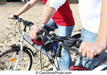 サイクリング, 浜, 人々