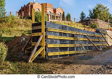サイト。, コンクリート, 改善, 予防, 補強された, 壁, 建設, 保持, ∥あるいは∥, 準備, 地すべり, 型枠, territory., に対して, 処置, counterfort, 注ぎなさい