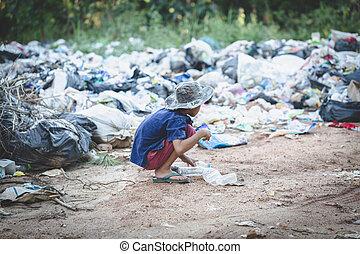 サイト。, 労働, 暮らし, 埋立て地, labor., 取引, 窮乏, 子供, 貧しい, ごみ, 人間, ...