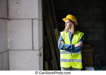 サイト。, 建設, 女, 労働者, 若い