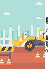サイト。, 建設, 背景, 掘削機