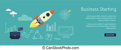 サイト, 旗, ビジネス
