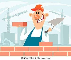 サイト, 煉瓦工, 建設