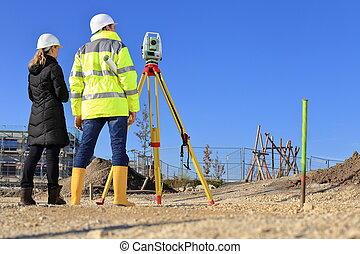 サイト, 背中, 測量技師, 建設, 建築家, 光景