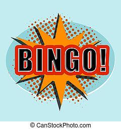 サイト。, bingo., ベクトル, デザイン, 漫画, 要素