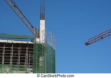 サイト, construction., クレーン, sky., 建物。, 建物, に対して, タワー, 青, 貯蔵, 未完成, クレーン, multi, 建設, 使用, 金属