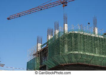 サイト, construction., クレーン, sky., 建物。, 建物, に対して, タワー, 青, 貯蔵, 未完成, multi, 建設, 使用, 金属