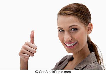 サイド光景, の, 微笑の 女性, 寄付, 「オーケー」