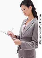 サイド光景, クリップボード, 女性実業家