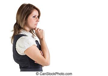 サイド光景, 女性実業家, 思いやりがある, 若い