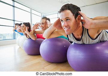 サイド光景, 運動, 横列, ボール, フィットネスクラス