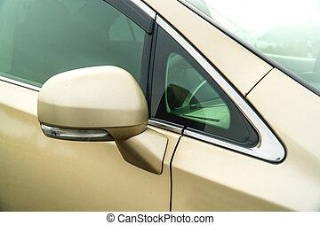 サイド鏡, 自動車, 写真, gold-coloured, 後部ビュー