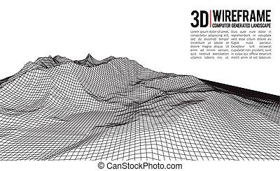 サイバースペース, illustration., 抽象的, バックグラウンド。, ベクトル, grid., 技術, 風景, 3d