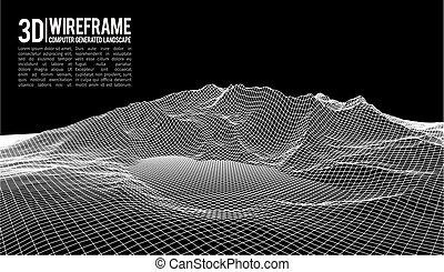 サイバースペース, illustration., 抽象的, wireframe, プレゼンテーション, バックグラウンド。, ベクトル, デジタル, grid., 技術, 風景, 3d