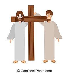 サイモン, 助け, イエス・キリスト, を経て, cross-, 届きなさい, crucis
