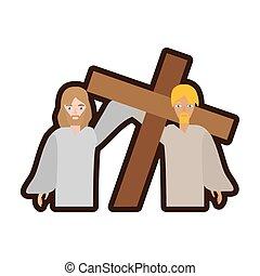 サイモン, 助け, 交差点, イエス・キリスト, 届きなさい, 線