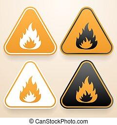 サイン, セット, 三角, 危険