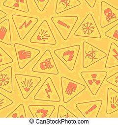 サイン, パターン, 警告, 危険
