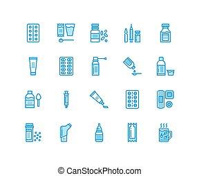 サイン, painkillers., 完全, ビタミン, 薬局, 形態, 健康, ピクセル, 店, カプセル, 線である...