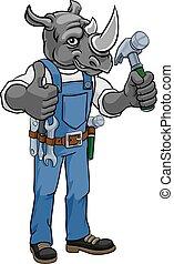 サイ, handyman, マスコット, 保有物, ハンマー, 大工