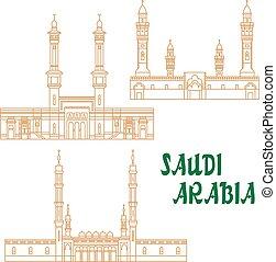 サウジアラビア人, 薄くなりなさい, アラビア, 線, モスク, 古代, アイコン