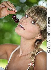 サクランボ, 女性の 食べること, 肖像画