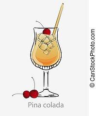 サクランボ, 立方体, colada, カクテル, わら, 黄色, 長い間, 氷, 飲みなさい, cocktail., ...