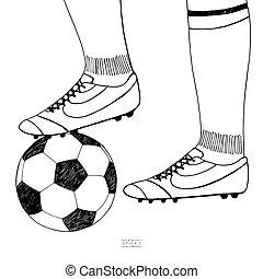サッカーの訓練, ボール, sketch., boot., プレーヤー, コレクション, 手, バックグラウンド。, ベクトル, 黒, 下に, 引かれる, 線, スポーツ, 白, illustration.