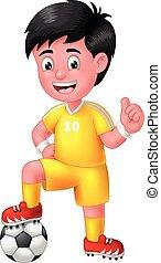 サッカーフットボール, 親指, 黄色のボール, 男の子, ユニフォーム, 漫画, プレーヤー, の上