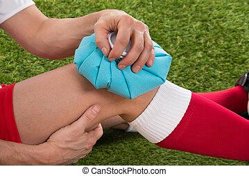サッカープレーヤー, アイシング, 膝, ∥で∥, 氷 パック