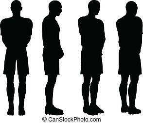 サッカープレーヤー, シルエット, 防衛, ポジション, ポーズを取る