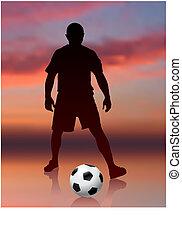 サッカープレーヤー, 上に, 夕方, 背景