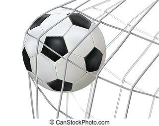 サッカーボール, ヒッティング, 上に, net.