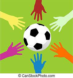 サッカー, のまわり, ボール, 手