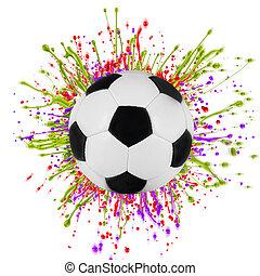 サッカー, はねかけること, ボール, カラフルである