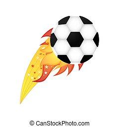 サッカー, オリンピック, ボール, 炎, カラフルである