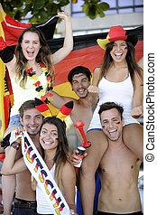 サッカー, グループ, ドイツ語, 祝う, ファン, スポーツ